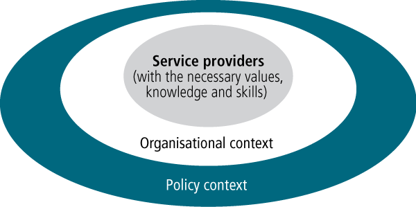 Figure 3: The three levels of service reform required by service providers - as described in text