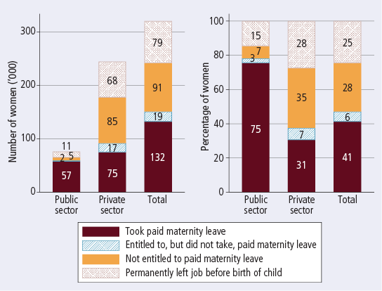 Mothers' use of paid maternity leave, by sector of employment while pregnant, 2011 - as described in text