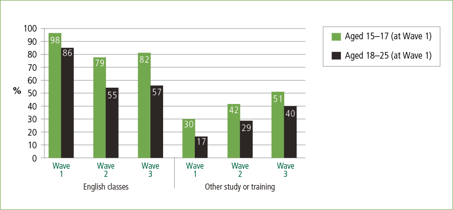 A bar graph showing young people's participation in English classes and other study or training over time, by age group