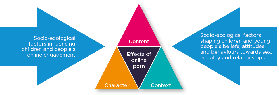 1. Content 2. Character 3. Context. Socio-ecological factors influencing children and people's online engagement. Socio-ecological factors shaping children and young people's beliefs, attitutdes and behaviours towards sex, equality and relationships.