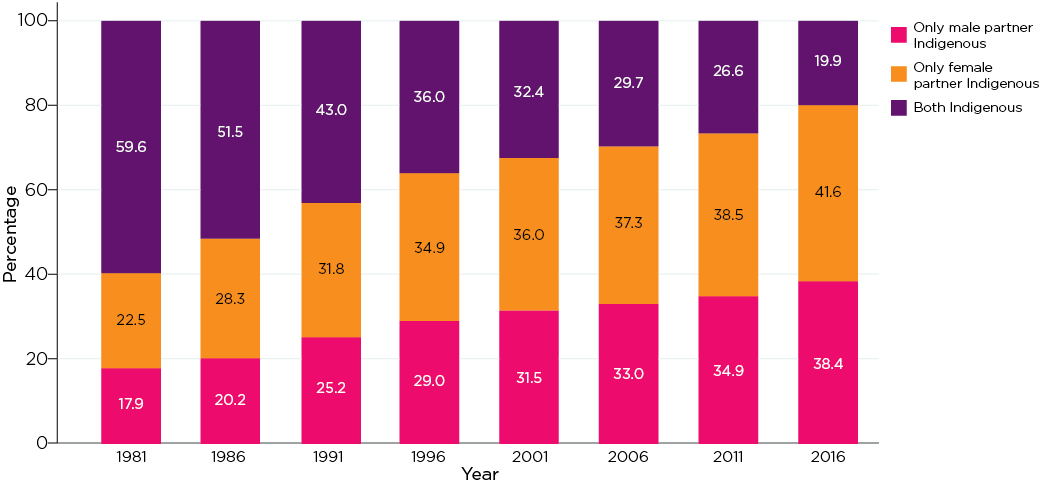 Figure 5: Indigenous couples showing Indigenous status of each partner, 1981-2016