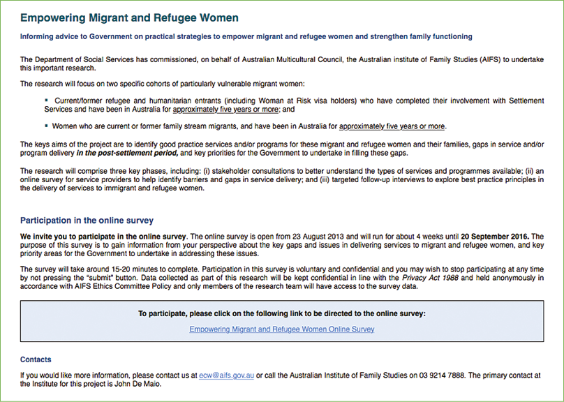 Empowering Migrant And Refugee Women Appendices Australian