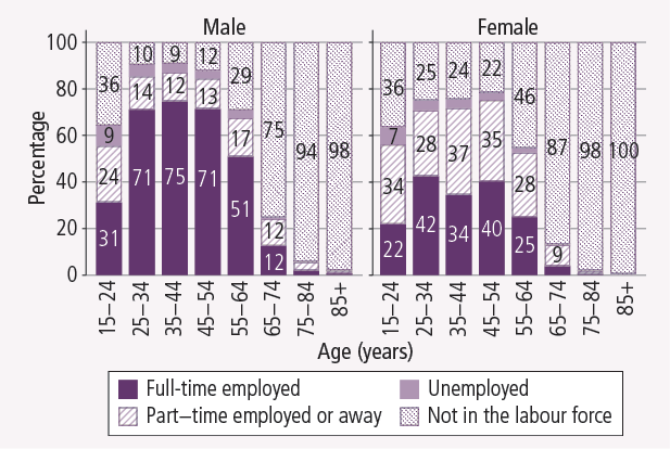 Labour force status, by sex and age, 2011. As described in text.