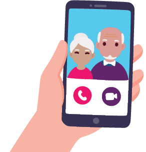 Hand holding a mobile phone, video call with grandparents