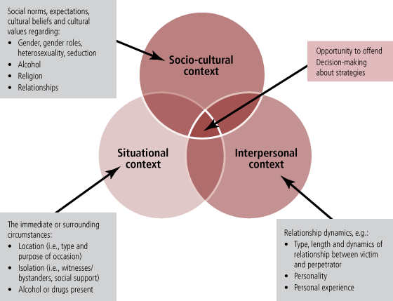 Figure 1: Overlapping contexts enabling sexual assault, described in text.