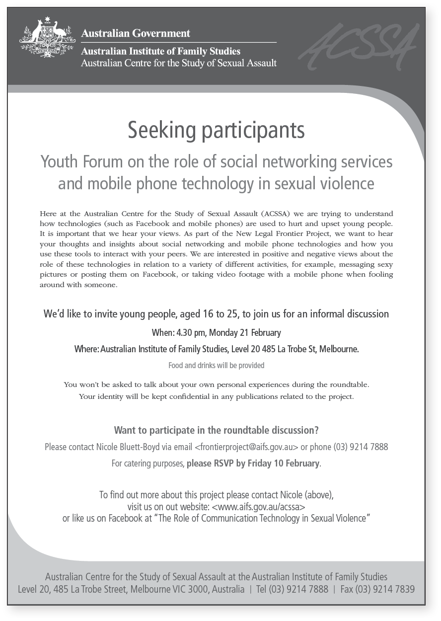 Invitation to youth forum on role of social networking services in sexual violence