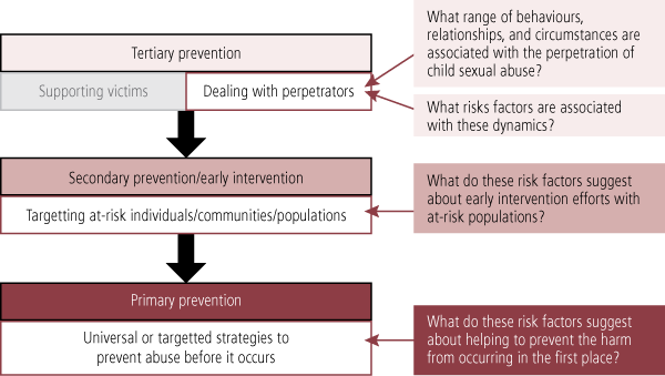 Figure 1: Approach to linking risk factors of perpetration to prevention efforts, as described in accompanying text.