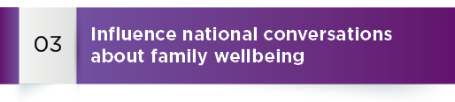 Strategic goals 3: Influence national conversations about family wellbeing.