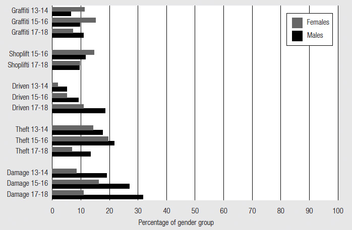 Figure 6 Property offences by gender, described in text.